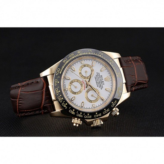 Rolex Cosmograph Daytona Gold Case White Dial Brown Leather Bracelet 622633