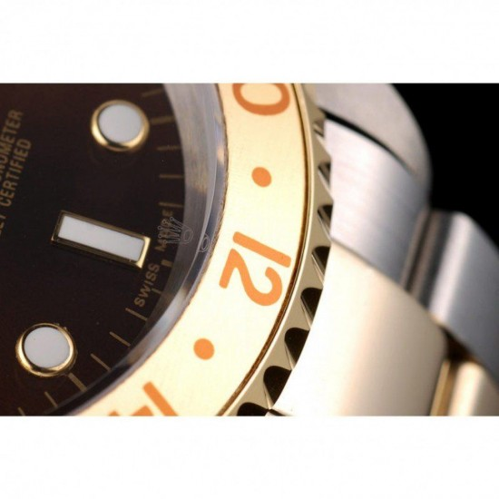 Rolex GMT Master II Gold Colored Ceramic Bezel Brown Dial Watch